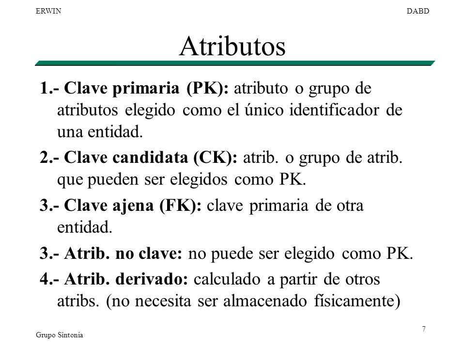 Grupo Sintonía ERWINDABD 7 Atributos 1.- Clave primaria (PK): atributo o grupo de atributos elegido como el único identificador de una entidad. 2.- Cl