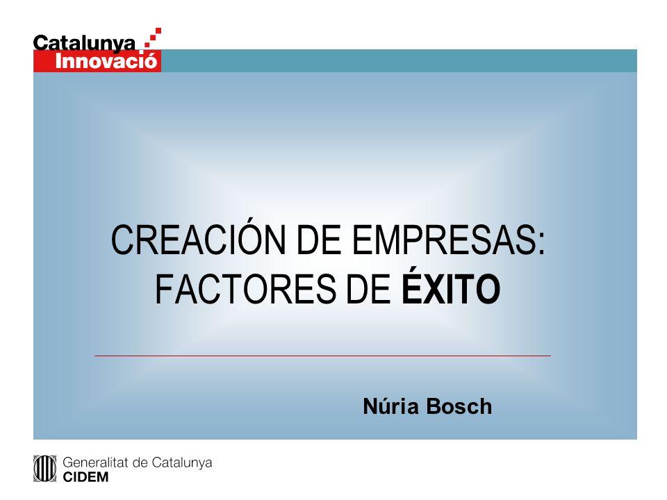 CREACIÓN DE EMPRESAS: FACTORES DE ÉXITO Núria Bosch