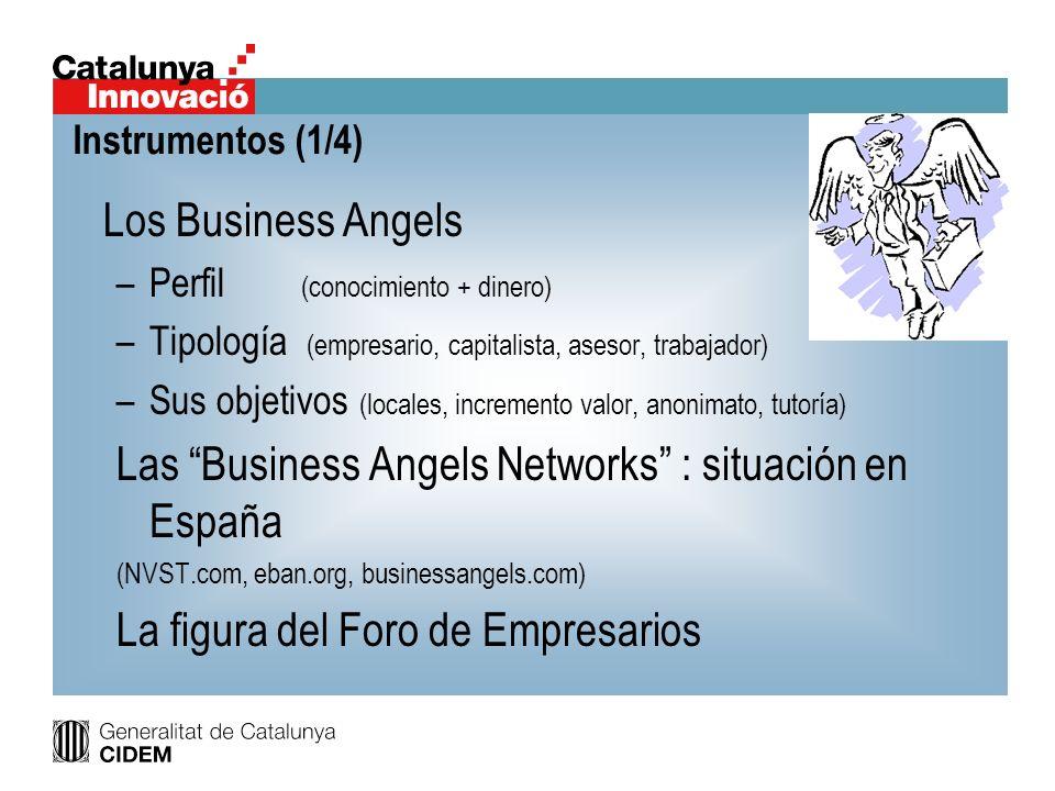 Los Business Angels –Perfil (conocimiento + dinero) –Tipología (empresario, capitalista, asesor, trabajador) –Sus objetivos (locales, incremento valor