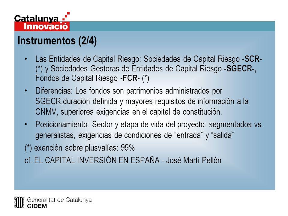 Las Entidades de Capital Riesgo: Sociedades de Capital Riesgo -SCR- (*) y Sociedades Gestoras de Entidades de Capital Riesgo -SGECR-, Fondos de Capita
