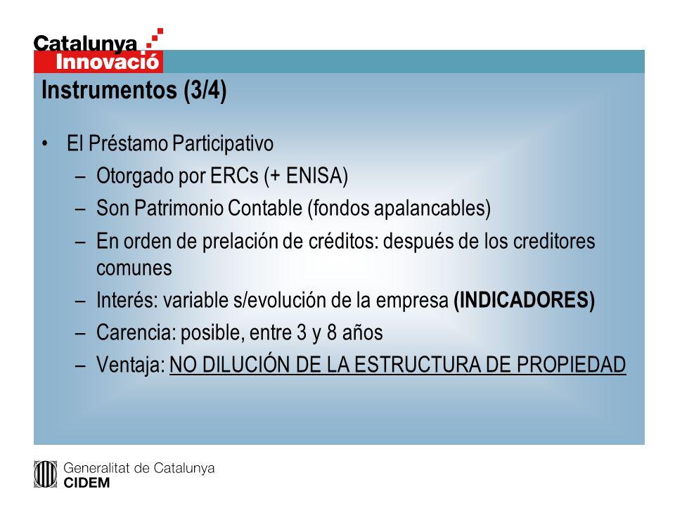 El Préstamo Participativo –Otorgado por ERCs (+ ENISA) –Son Patrimonio Contable (fondos apalancables) –En orden de prelación de créditos: después de l