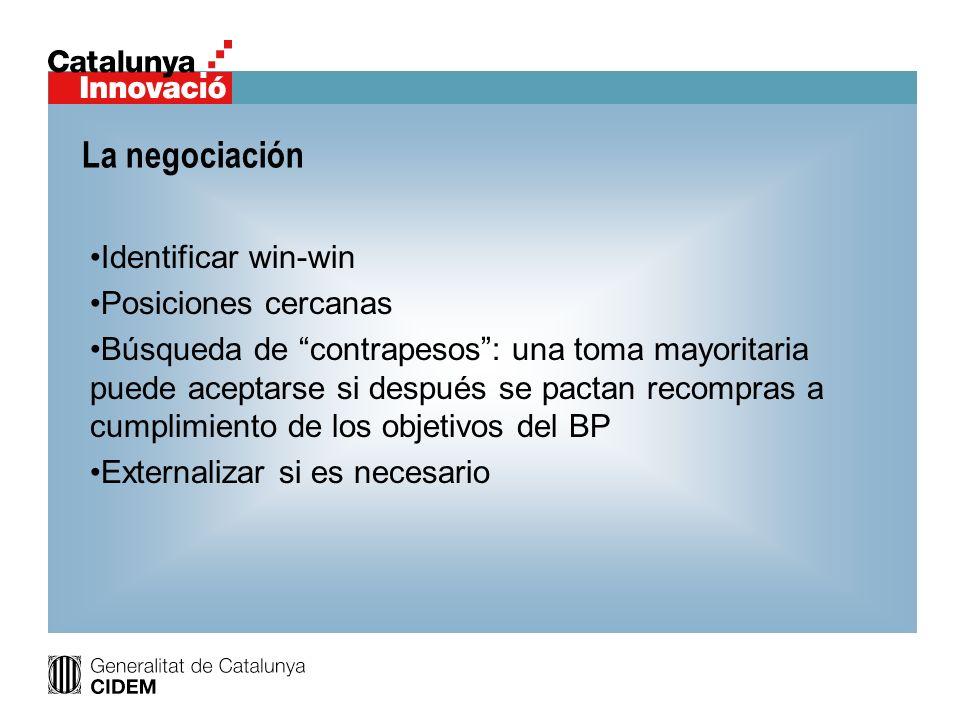 La negociación Identificar win-win Posiciones cercanas Búsqueda de contrapesos: una toma mayoritaria puede aceptarse si después se pactan recompras a