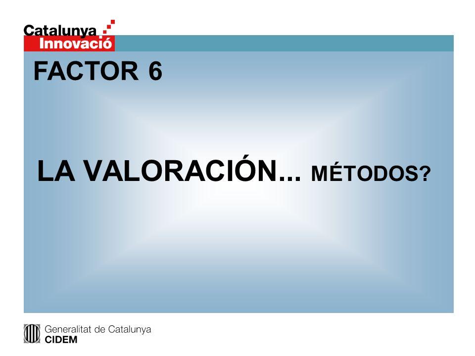 LA VALORACIÓN... MÉTODOS? FACTOR 6