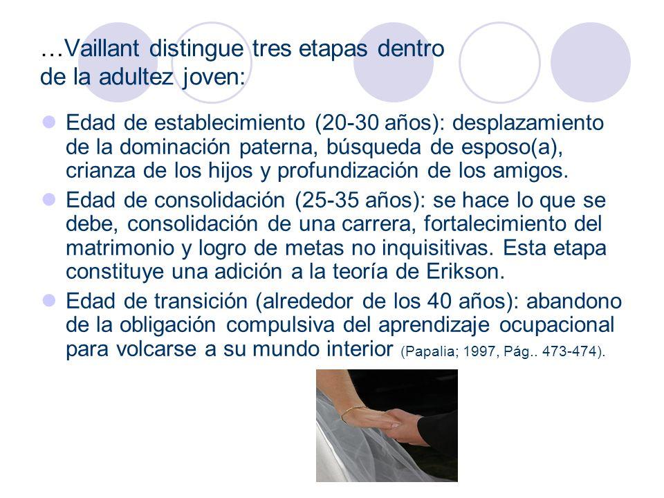 …Vaillant distingue tres etapas dentro de la adultez joven: Edad de establecimiento (20-30 años): desplazamiento de la dominación paterna, búsqueda de
