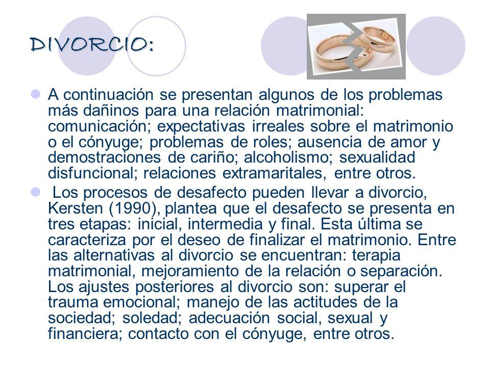 DIVORCIO: A continuación se presentan algunos de los problemas más dañinos para una relación matrimonial: comunicación; expectativas irreales sobre el
