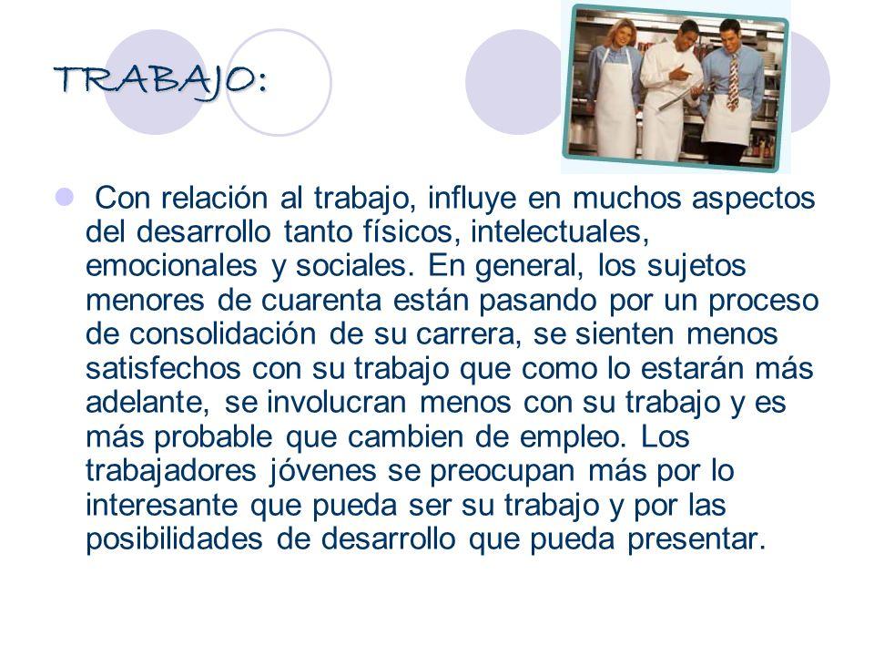 TRABAJO: Con relación al trabajo, influye en muchos aspectos del desarrollo tanto físicos, intelectuales, emocionales y sociales. En general, los suje