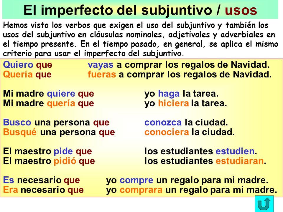 El Imperfecto del Subjuntivo Empiece con la forma de ellos del pretérito: hablaroncomieron Quite las letras on hablar-comier- Añada las terminaciones