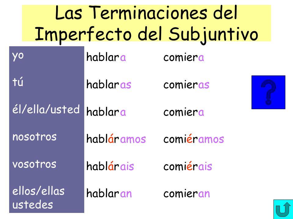 El imperfecto del subjuntivo/formas Para formar el imperfecto del subjuntivo, tomamos la tercera persona del plural del pretérito del indicativo y cam