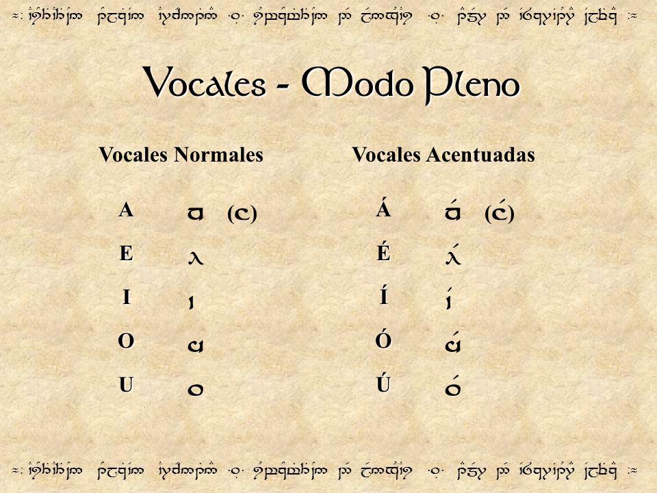 Vocales - Modo Pleno ¬- `CiY3T`C3T~N5 1YjzT`V5 `C7cR51T5# =.É= iUwzYt%3T~N5 2R jR5xU`Ci =.É= 1EmR7 2R `V8z7`B1U7E ~VjeTzE -¬ A E I O U n ( ] ) l ` h.