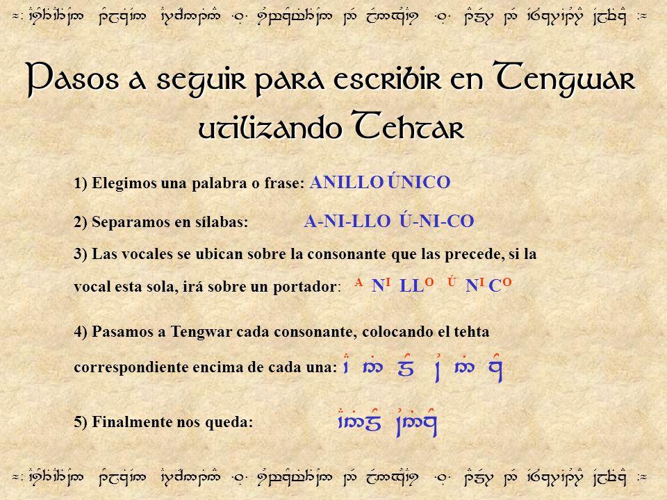 ¬- `CiY3T`C3T~N5 1YjzT`V5 `C7cR51T5# =.É= iUwzYt%3T~N5 2R jR5xU`Ci =.É= 1EmR7 2R `V8z7`B1U7E ~VjeTzE -¬ Pasos a seguir para escribir en Tengwar utiliz