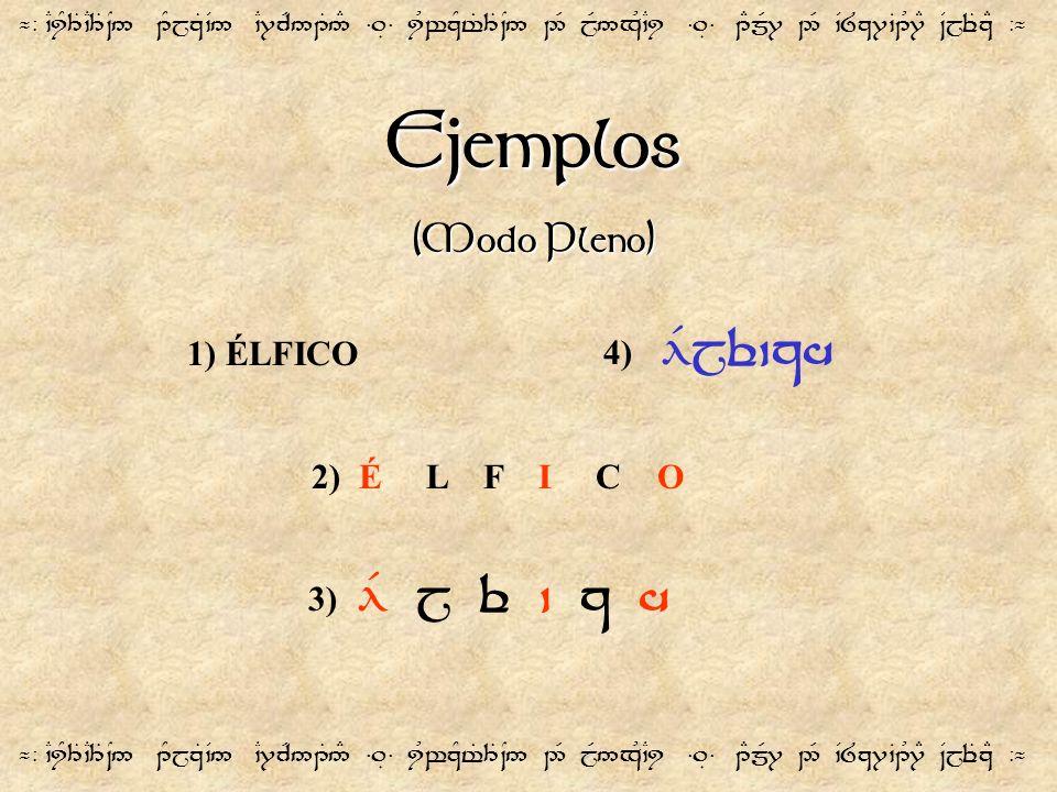 Ejemplos (Modo Pleno) ¬- `CiY3T`C3T~N5 1YjzT`V5 `C7cR51T5# =.É= iUwzYt%3T~N5 2R jR5xU`Ci =.É= 1EmR7 2R `V8z7`B1U7E ~VjeTzE -¬ 1) ÉLFICO 2) É L F I C O