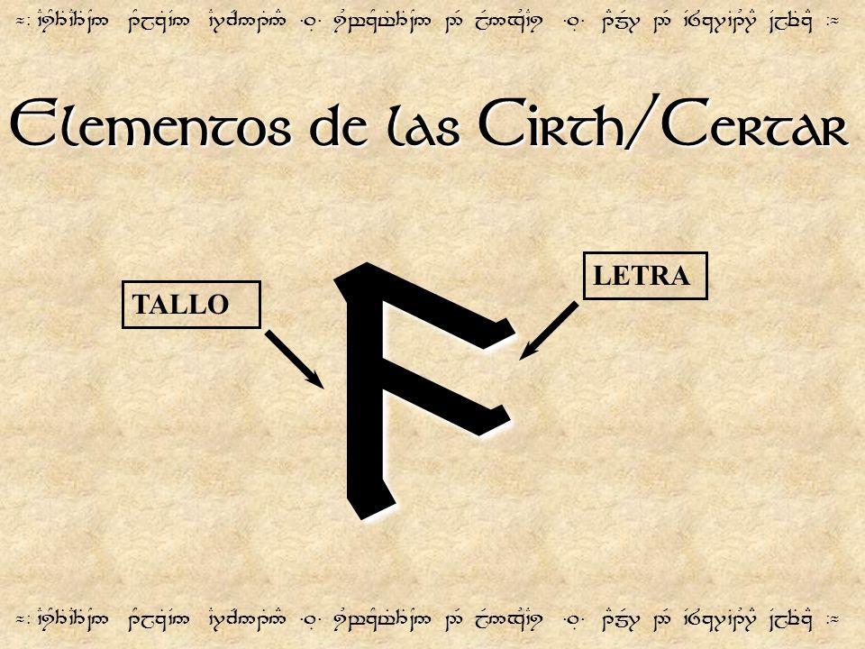 Elementos de las Cirth/Certar ¬- `CiY3T`C3T~N5 1YjzT`V5 `C7cR51T5# =.É= iUwzYt%3T~N5 2R jR5xU`Ci =.É= 1EmR7 2R `V8z7`B1U7E ~VjeTzE -¬ 9 TALLO LETRA