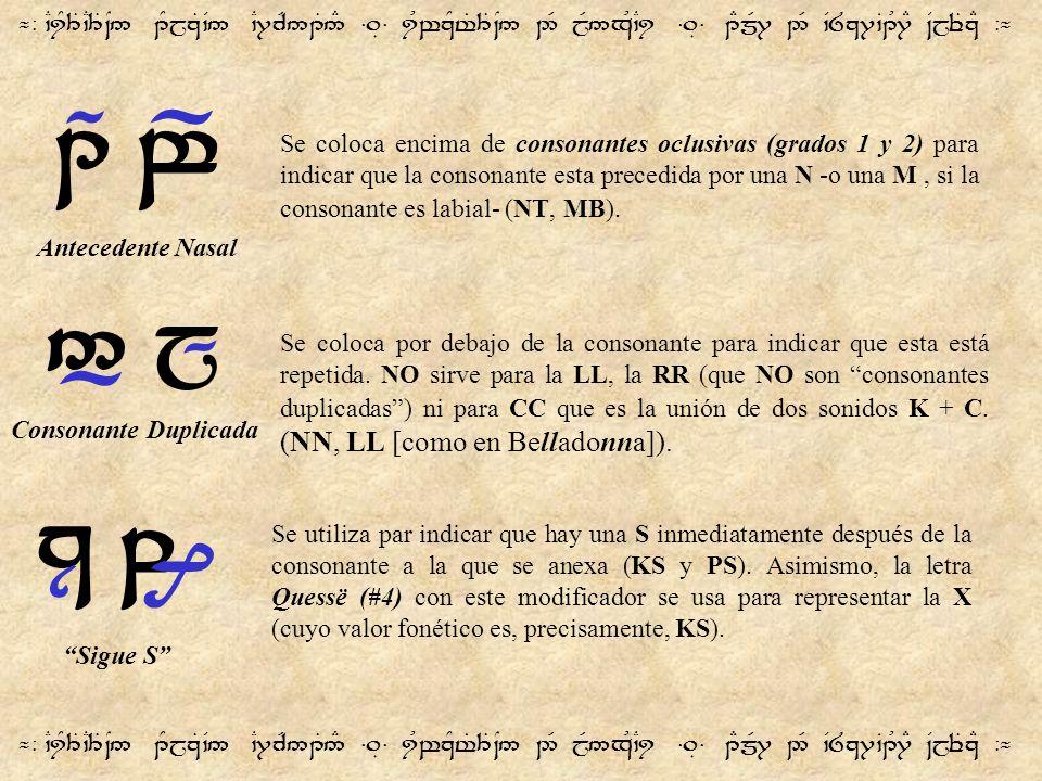 ¬- `CiY3T`C3T~N5 1YjzT`V5 `C7cR51T5# =.É= iUwzYt%3T~N5 2R jR5xU`Ci =.É= 1EmR7 2R `V8z7`B1U7E ~VjeTzE -¬ Se coloca encima de consonantes oclusivas (gra