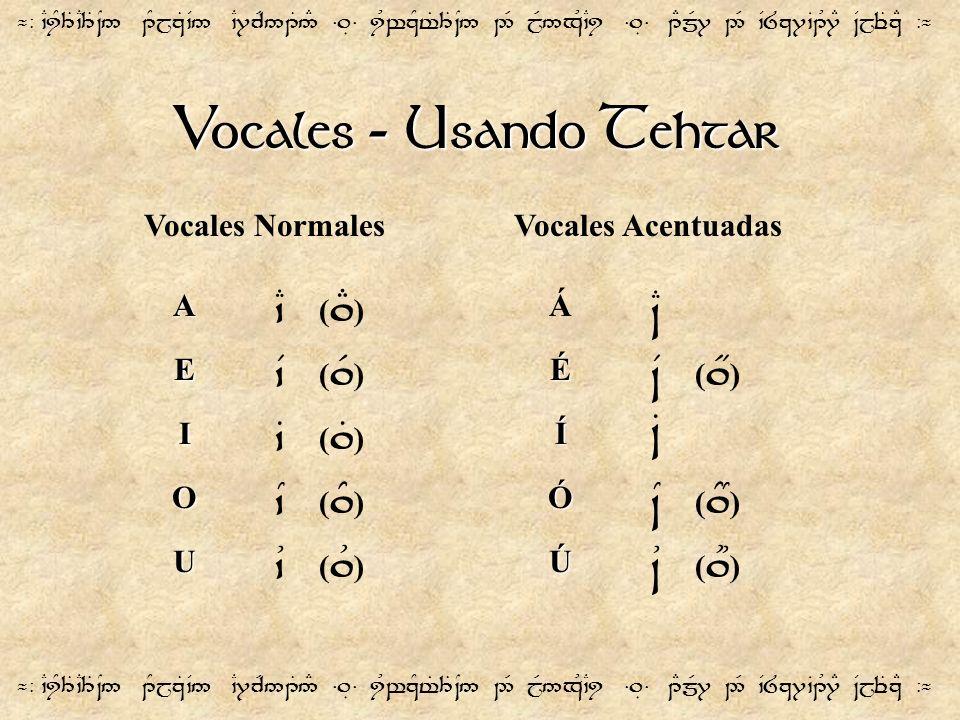 Vocales - Usando Tehtar ¬- `CiY3T`C3T~N5 1YjzT`V5 `C7cR51T5# =.É= iUwzYt%3T~N5 2R jR5xU`Ci =.É= 1EmR7 2R `V8z7`B1U7E ~VjeTzE -¬ A E I O U `C (.E ) `V