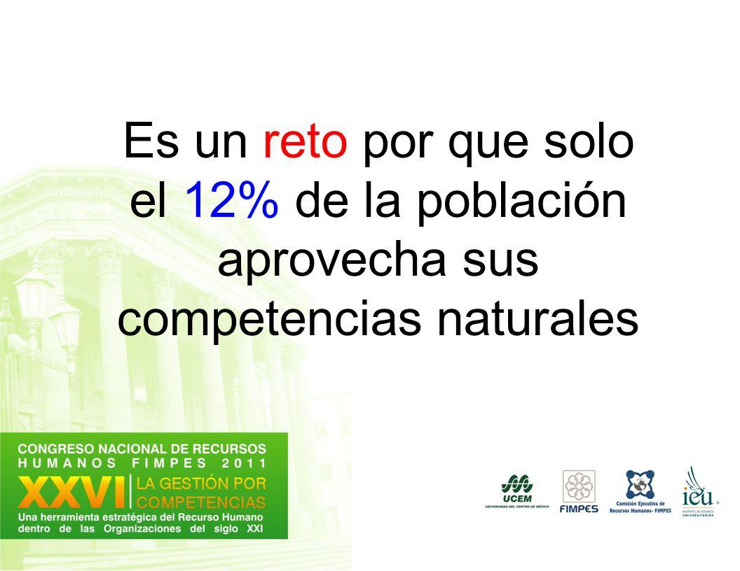 Es un reto por que solo el 12% de la población aprovecha sus competencias naturales