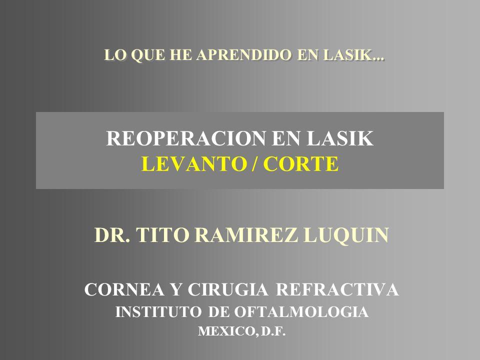REOPERACION EN LASIK LEVANTO / CORTE DR. TITO RAMIREZ LUQUIN CORNEA Y CIRUGIA REFRACTIVA INSTITUTO DE OFTALMOLOGIA MEXICO, D.F. LO QUE HE APRENDIDO EN