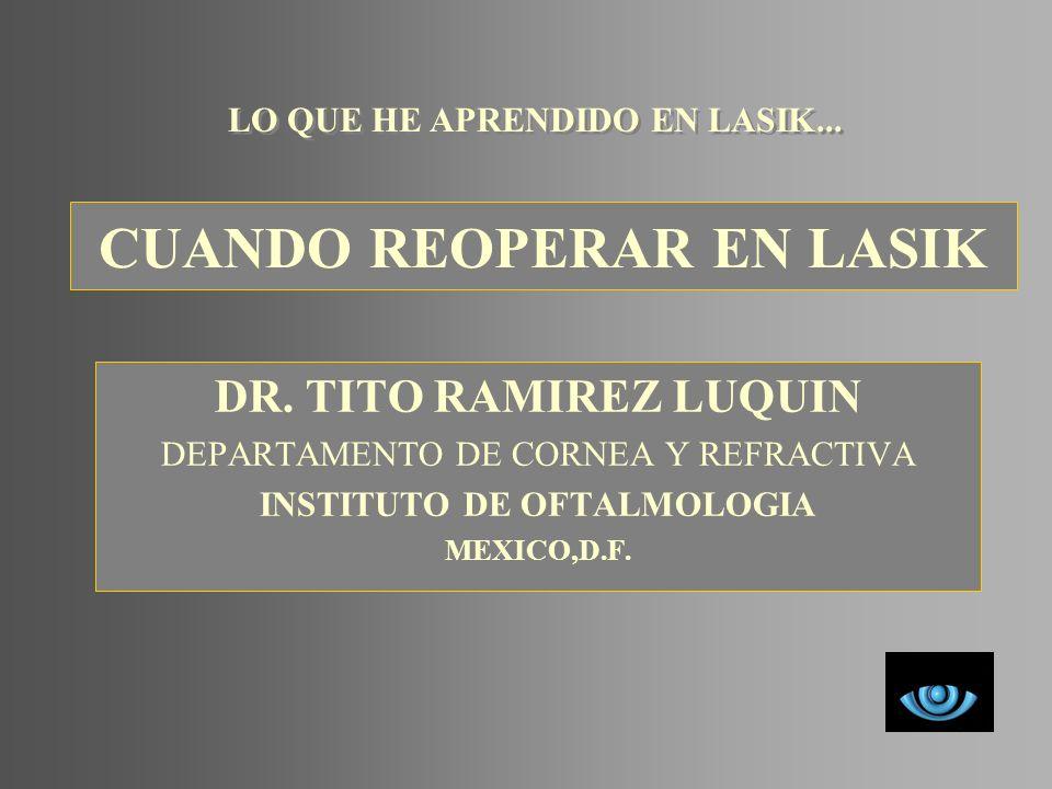 CUANDO REOPERAR EN LASIK DR. TITO RAMIREZ LUQUIN DEPARTAMENTO DE CORNEA Y REFRACTIVA INSTITUTO DE OFTALMOLOGIA MEXICO,D.F. LO QUE HE APRENDIDO EN LASI