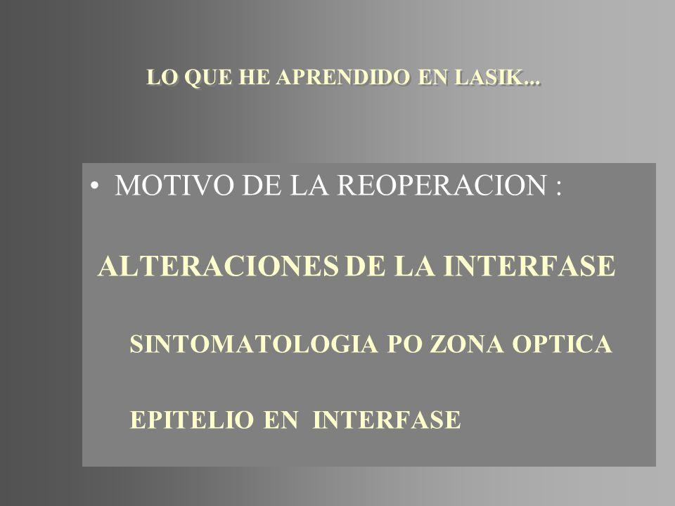 MOTIVO DE LA REOPERACION : ALTERACIONES DE LA INTERFASE SINTOMATOLOGIA PO ZONA OPTICA EPITELIO EN INTERFASE LO QUE HE APRENDIDO EN LASIK...