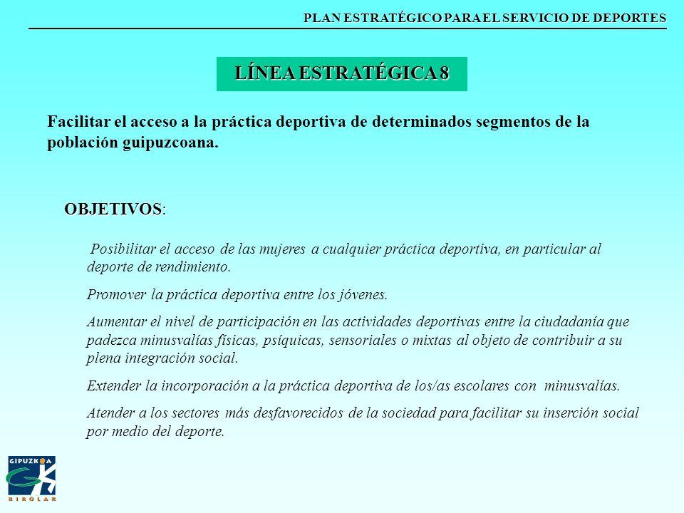 PLAN ESTRATÉGICO PARA EL SERVICIO DE DEPORTES Facilitar el acceso a la práctica deportiva de determinados segmentos de la población guipuzcoana. LÍNEA