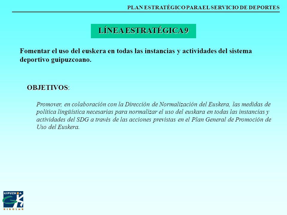 PLAN ESTRATÉGICO PARA EL SERVICIO DE DEPORTES Fomentar el uso del euskera en todas las instancias y actividades del sistema deportivo guipuzcoano. LÍN