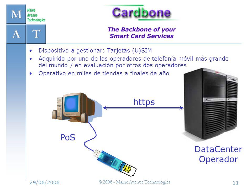 29/06/2006 © 2006 - Maine Avenue Technologies 11 https Dispositivo a gestionar: Tarjetas (U)SIM Adquirido por uno de los operadores de telefonía móvil
