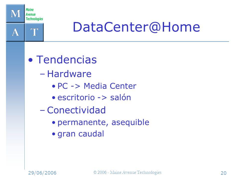 29/06/2006 © 2006 - Maine Avenue Technologies 20 Tendencias –Hardware PC -> Media Center escritorio -> salón –Conectividad permanente, asequible gran