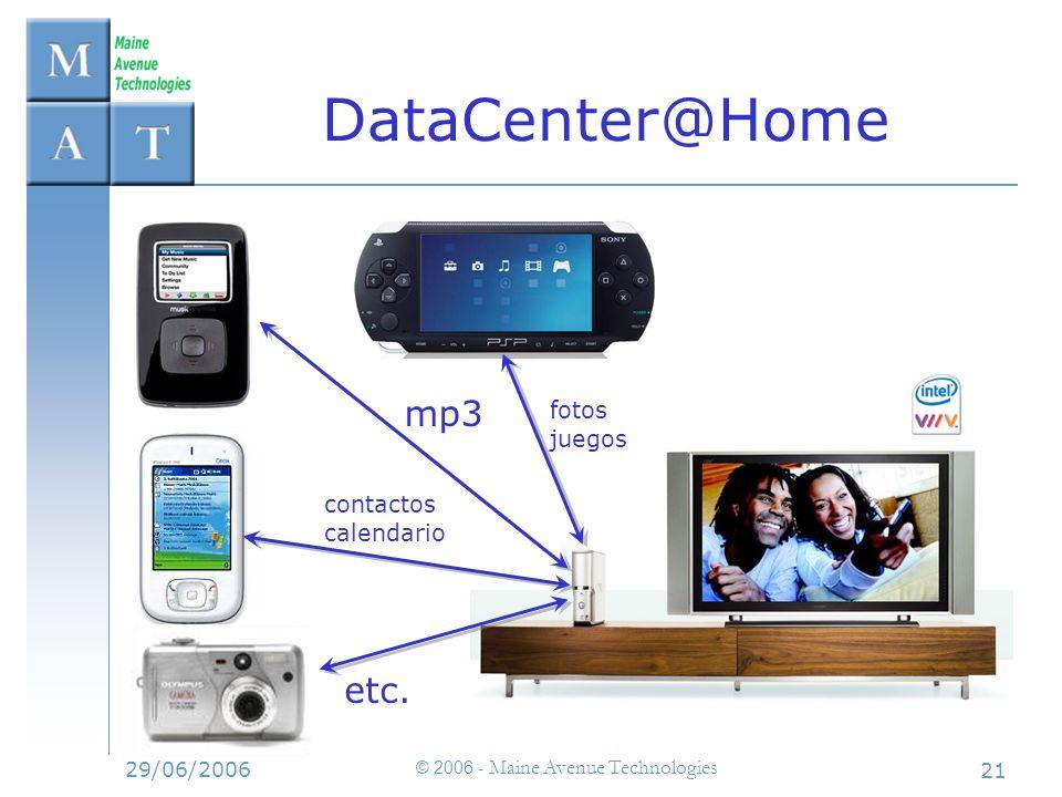 29/06/2006 © 2006 - Maine Avenue Technologies 21 DataCenter@Home mp3 contactos calendario fotos juegos etc.