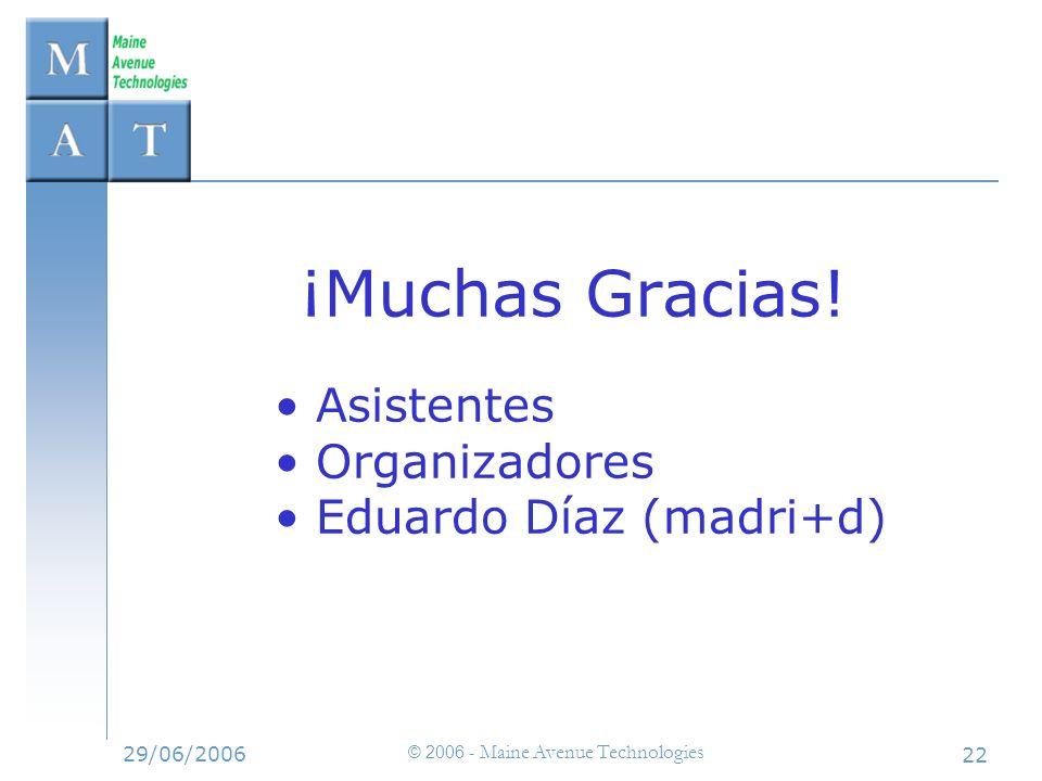 29/06/2006 © 2006 - Maine Avenue Technologies 22 ¡Muchas Gracias! Asistentes Organizadores Eduardo Díaz (madri+d)