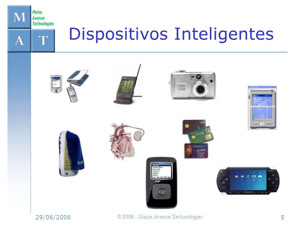 29/06/2006 © 2006 - Maine Avenue Technologies 6 Características –Mercados masivos: están por todas partes –Capacidades de almacenamiento y cómputo cada vez mayores –Capacidades de comunicación Infrarojos GSM, GPRS, UMTS Bluetooth Wi-Fi etc.