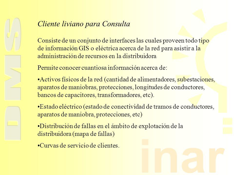 inar Cliente liviano para Consulta Consiste de un conjunto de interfaces las cuales proveen todo tipo de información GIS o eléctrica acerca de la red