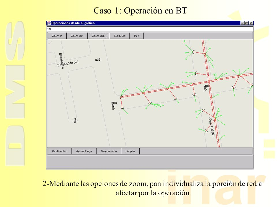 inar Caso 1: Operación en BT 2-Mediante las opciones de zoom, pan individualiza la porción de red a afectar por la operación
