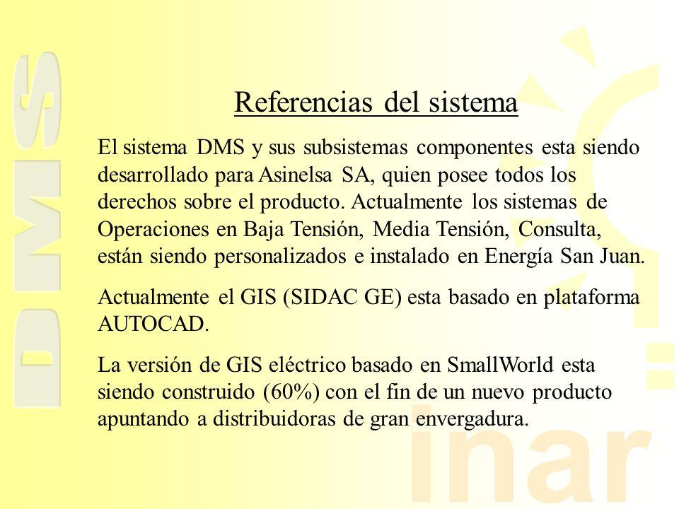 inar Referencias del sistema El sistema DMS y sus subsistemas componentes esta siendo desarrollado para Asinelsa SA, quien posee todos los derechos so