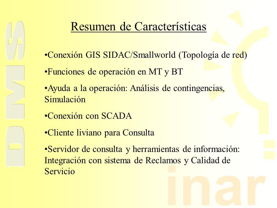 inar Conexión GIS SIDAC/Smallworld (Topología de red) Funciones de operación en MT y BT Ayuda a la operación: Análisis de contingencias, Simulación Co