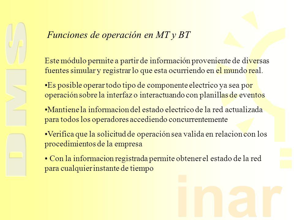 inar Funciones de operación en MT y BT Este módulo permite a partir de información proveniente de diversas fuentes simular y registrar lo que esta ocu
