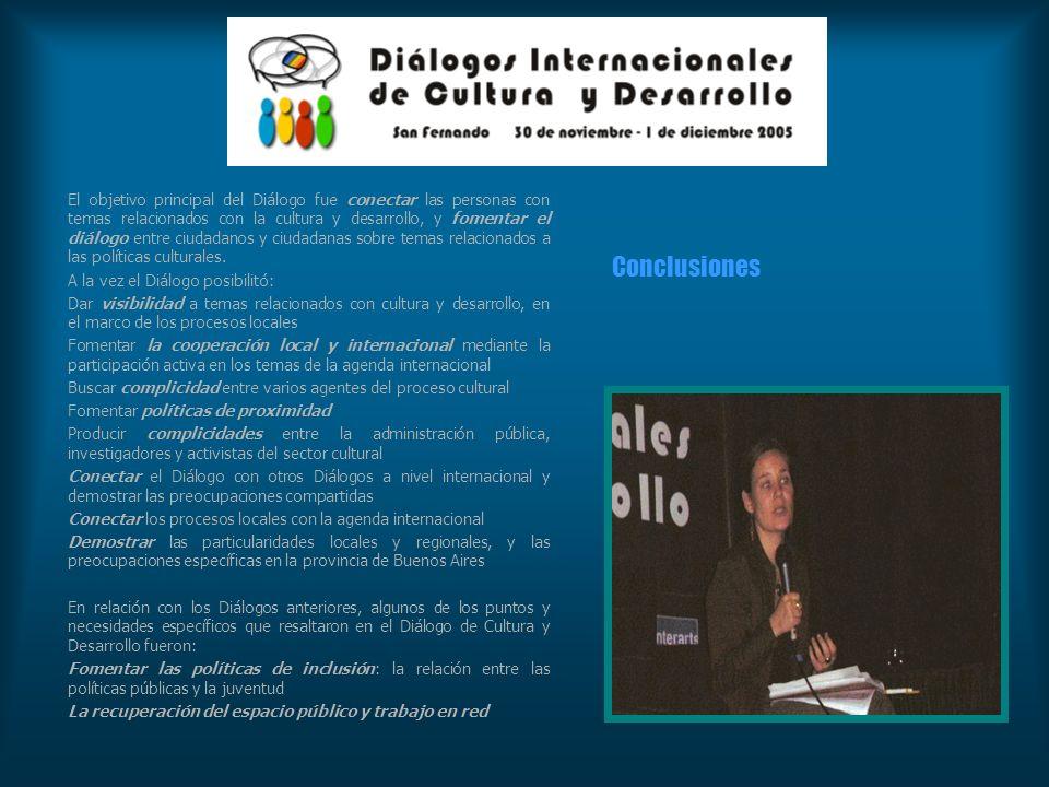 El objetivo principal del Diálogo fue conectar las personas con temas relacionados con la cultura y desarrollo, y fomentar el diálogo entre ciudadanos