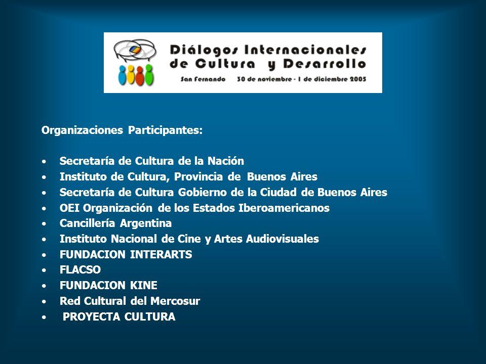 Organizaciones Participantes: Secretaría de Cultura de la Nación Instituto de Cultura, Provincia de Buenos Aires Secretaría de Cultura Gobierno de la