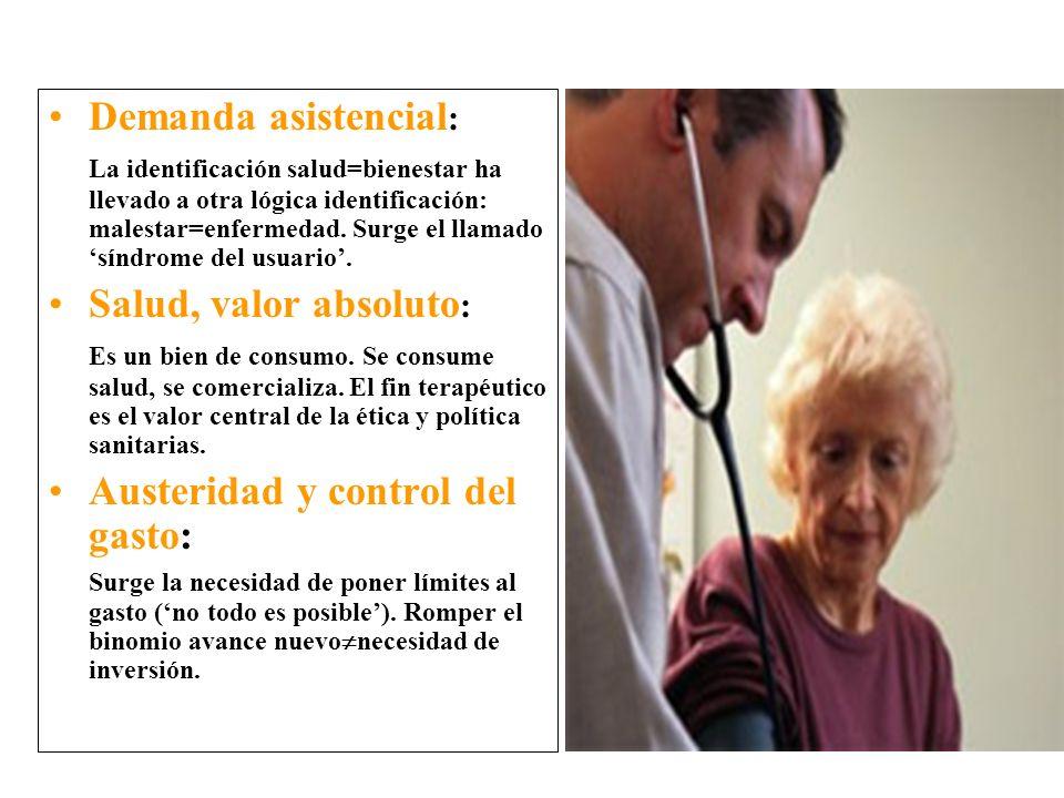 Demanda asistencial : La identificación salud=bienestar ha llevado a otra lógica identificación: malestar=enfermedad.
