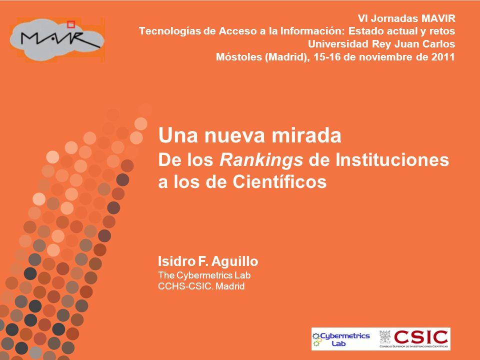 VI Jornadas MAVIR Tecnologías de Acceso a la Información: Estado actual y retos Universidad Rey Juan Carlos Móstoles (Madrid), 15-16 de noviembre de 2
