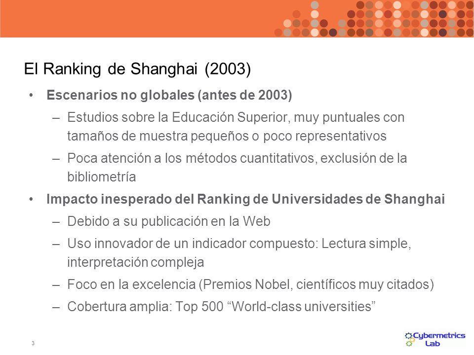 3 El Ranking de Shanghai (2003) Escenarios no globales (antes de 2003) –Estudios sobre la Educación Superior, muy puntuales con tamaños de muestra peq