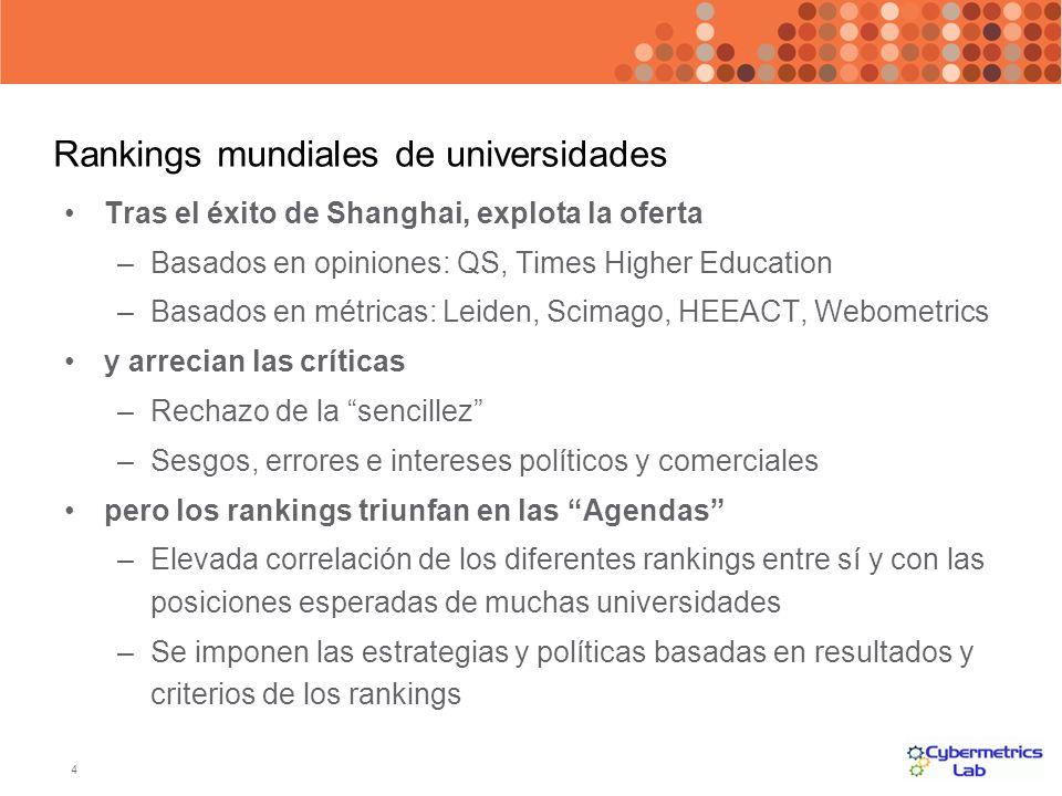 4 Rankings mundiales de universidades Tras el éxito de Shanghai, explota la oferta –Basados en opiniones: QS, Times Higher Education –Basados en métri