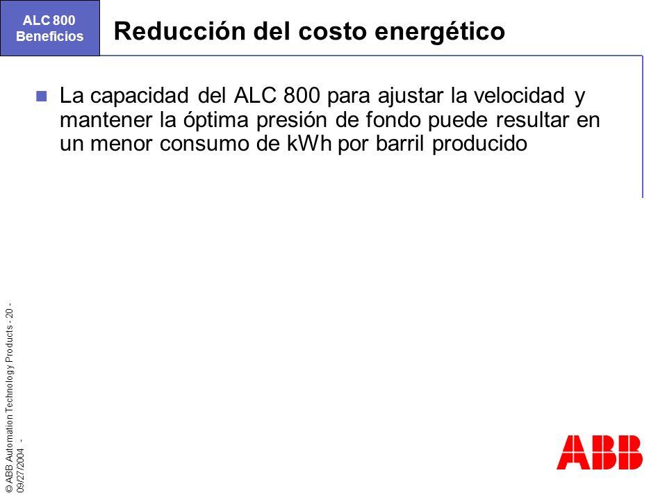 © ABB Automation Technology Products - 20 - 09/27/2004 - Reducción del costo energético La capacidad del ALC 800 para ajustar la velocidad y mantener
