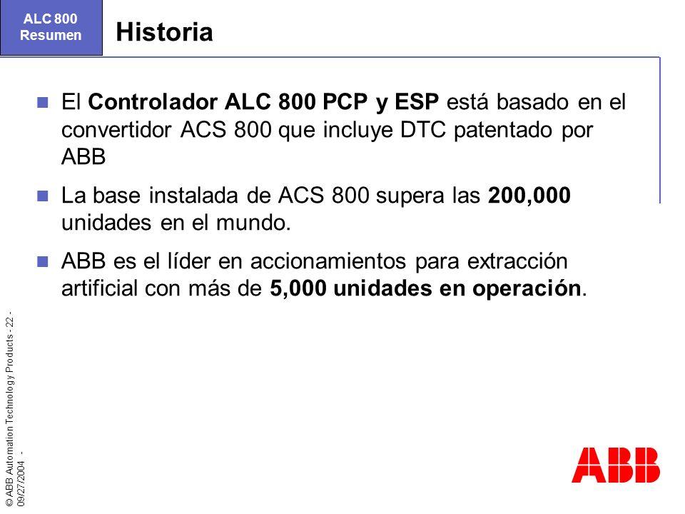 © ABB Automation Technology Products - 22 - 09/27/2004 - Historia El Controlador ALC 800 PCP y ESP está basado en el convertidor ACS 800 que incluye D