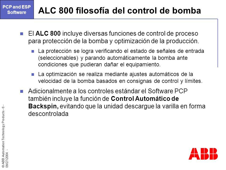 © ABB Automation Technology Products - 6 - 09/27/2004 - ALC 800 filosofía del control de bomba El ALC 800 incluye diversas funciones de control de pro