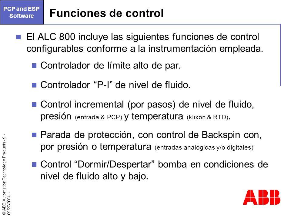 © ABB Automation Technology Products - 9 - 09/27/2004 - El ALC 800 incluye las siguientes funciones de control configurables conforme a la instrumenta