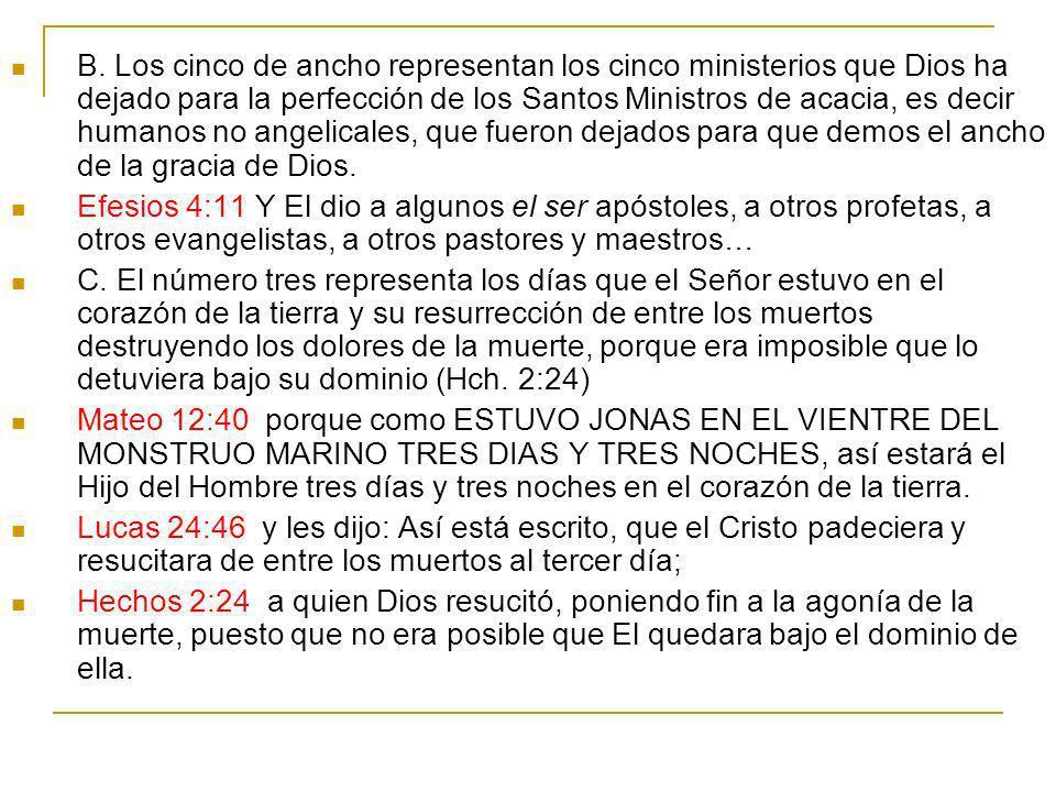 B. Los cinco de ancho representan los cinco ministerios que Dios ha dejado para la perfección de los Santos Ministros de acacia, es decir humanos no a