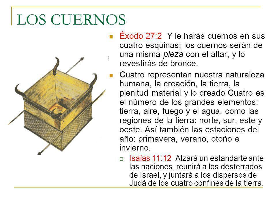LOS CUERNOS Éxodo 27:2 Y le harás cuernos en sus cuatro esquinas; los cuernos serán de una misma pieza con el altar, y lo revestirás de bronce. Cuatro
