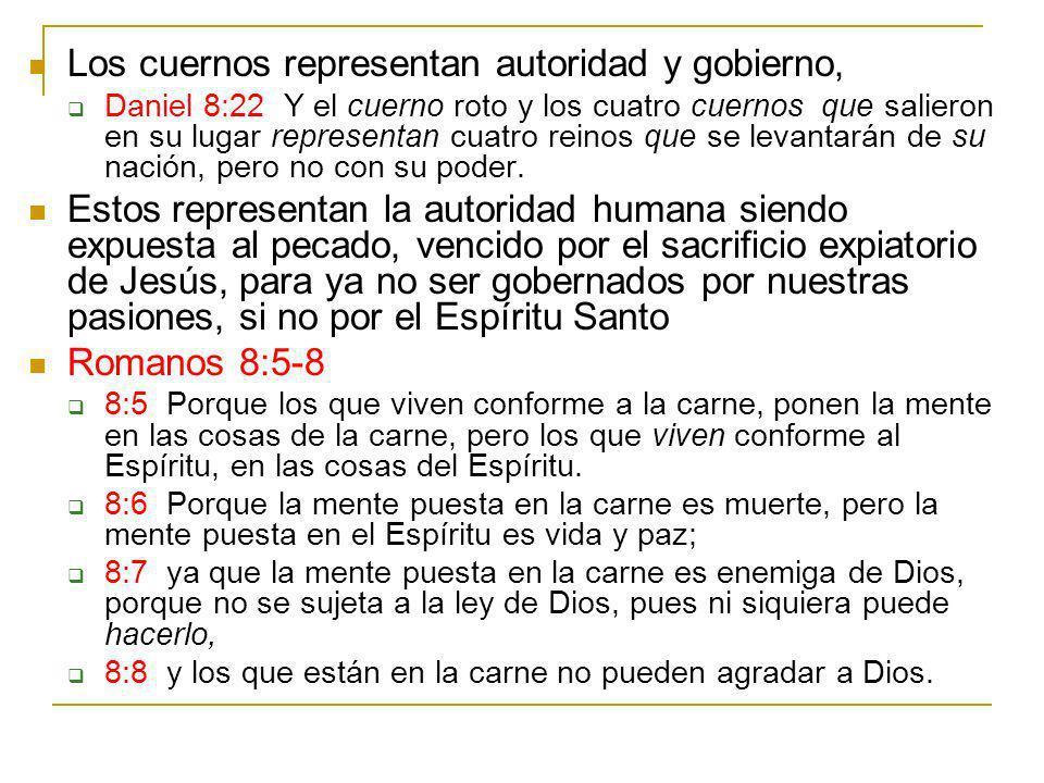 Los cuernos representan autoridad y gobierno, Daniel 8:22 Y el cuerno roto y los cuatro cuernos que salieron en su lugar representan cuatro reinos que