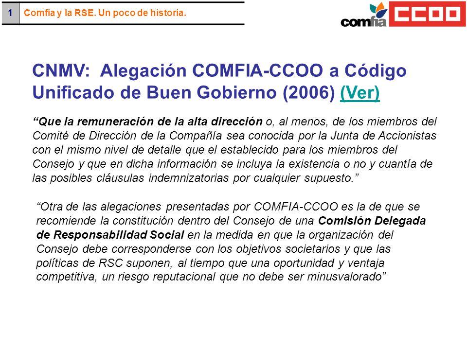 CNMV: Alegación COMFIA-CCOO a Código Unificado de Buen Gobierno (2006) (Ver)(Ver) Otra de las alegaciones presentadas por COMFIA-CCOO es la de que se