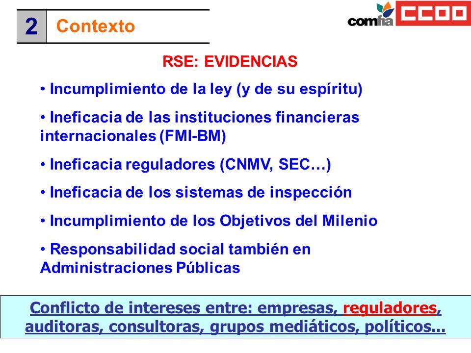 RSE: EVIDENCIAS Conflicto de intereses entre: empresas, reguladores, auditoras, consultoras, grupos mediáticos, políticos... Incumplimiento de la ley