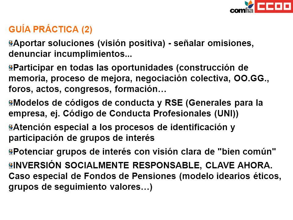 GUÍA PRÁCTICA (2) Aportar soluciones (visión positiva) - señalar omisiones, denunciar incumplimientos... Participar en todas las oportunidades (constr